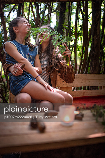 Two girls fool around in a cabin in the forest - p1007m2220026 by Tilby Vattard