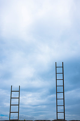Pair of ladders side by side - p1228m1223370 by Benjamin Harte