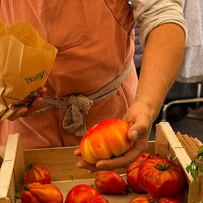 Bauer verkauft auf dem Markt Tomaten - p1297m2082098 von Nathalie Seroux