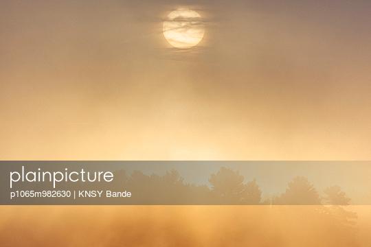 Morgensonne und Nebel über dem Chandos Lake, Kanada - p1065m982630 von KNSY Bande