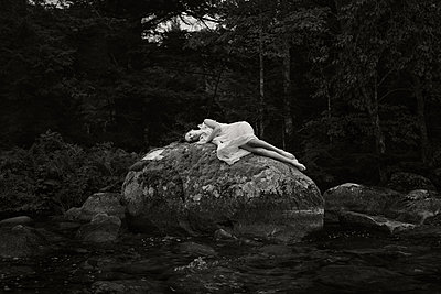 Girl Laying on Boulder - p1503m2015934 by Deb Schwedhelm