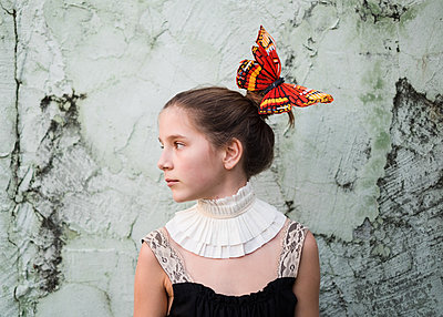 Girl with Butterfly in Hair - p1503m2020416 by Deb Schwedhelm
