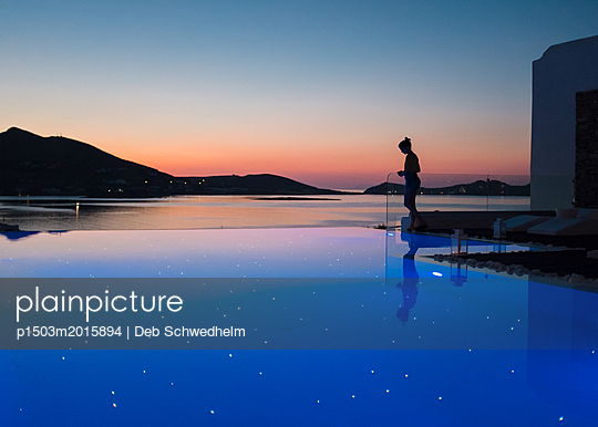 Girl at Starry Sea - p1503m2015894 by Deb Schwedhelm