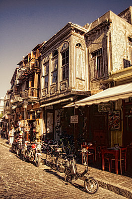 Old town of Rethymnon with bikes - p1445m2128463 by Eugenia Kyriakopoulou