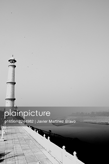 Panorama of the Yamuna River from the terrace of the main mausoleum of the Taj Mahal architectural ensemble and the minaret that flanks it - p1656m2244982 by Javier Martinez Bravo