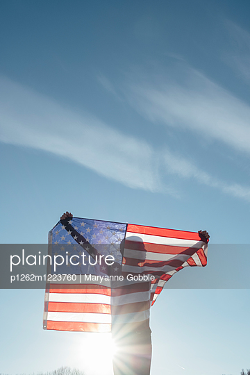 Boy Holding American Flag - p1262m1223760 by Maryanne Gobble