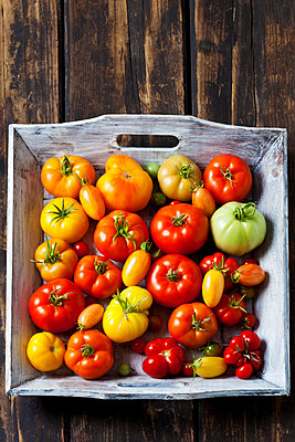 Wooden tray of various sorts of tomatoes - p300m2079255 by Dieter Heinemann