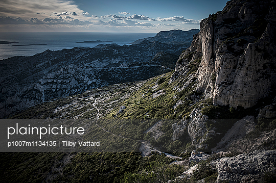 Landscape and track in Calanques Park - p1007m1134135 by Tilby Vattard