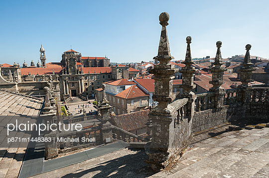 View from the roof of the Cathedral of Santiago de Compostela, UNESCO World Heritage Site, Santiago de Compostela, A Coruna, Galicia, Spain, Europe - p871m1448383 by Michael Snell