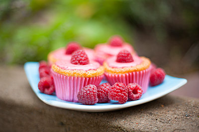 Sweden, Raspberry cupcakes on plate - p352m1186988 by Jonas Tulldahl