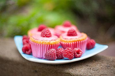 Sweden, Raspberry cupcakes on plate - p352m1186988 by Jonas Tulldahl