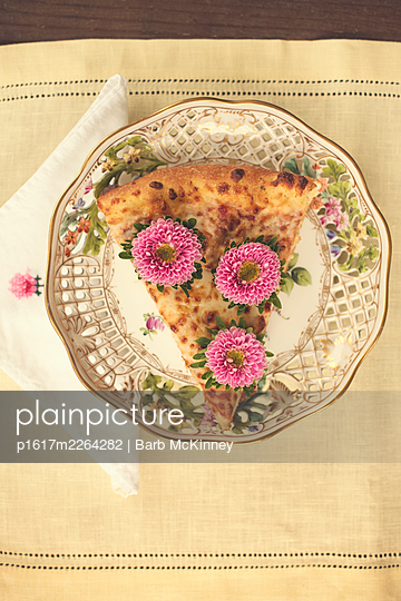 Pizza Slice with Flower Topping on Elegant Plate - p1617m2264282 by Barb McKinney
