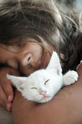 Sleeping girl with white kitten in her arms - p1580m2210135 by Andrea Christofi