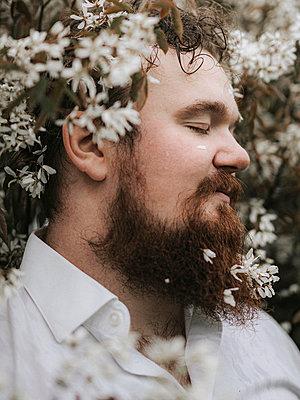 Bearded man in flower bush, portrait - p1507m2278844 by Emma Grann