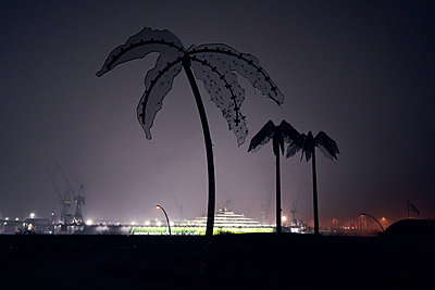 Germany, Hamburg, Artificial palm trees in St. Pauli Park at night - p1198m2278286 by Guenther Schwering
