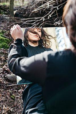 Woman in a mirror - p1621m2260174 by Anke Doerschlen