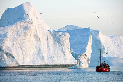 Boot vor Eisbergen - p719m1181392 von Rudi Sebastian