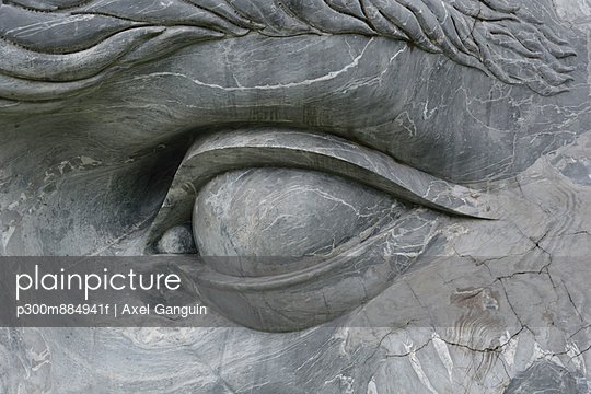 eye of a stone sculpture