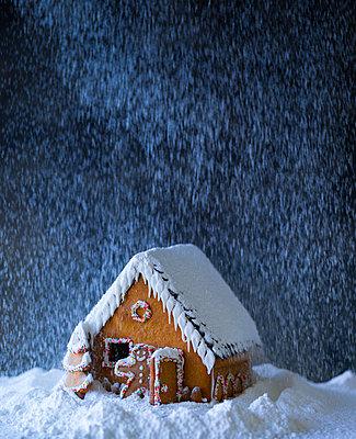 Lebkuchenhaus im Schneesturm - p1053m851229 von Joern Rynio