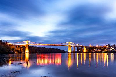 UK, Wales, Anglesey, Menai Suspension Bridge - p300m1449637 by Scott Masterton