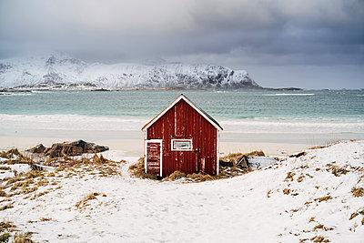 Red hut on the beach in snow, Lofoten, Norway - p300m2180517 by Manu Padilla Photo