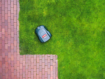 Germany, Bavaria, robotic lawn mower on meadow - p300m1568281 by Michael Malorny