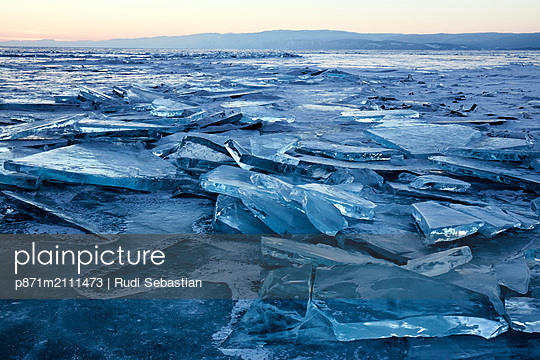 Lake Baikal in winter ice, Siberia, Russia - p871m2111473 by Rudi Sebastian