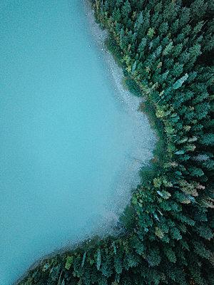 Dronenaufnahmen von Bäumen und Wasser - p1455m2193349 von Ingmar Wein