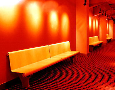Three Wooden Benches on the Waiting and Relaxing Area - Cinema  - p4900226 by Cadaphoto