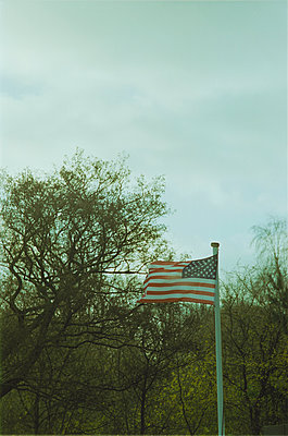 American flag blowing in the wind - p341m2289144 by Mikesch