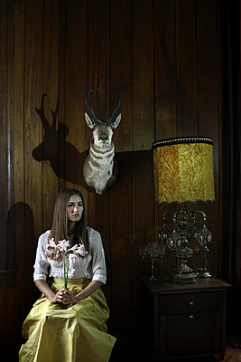 Portrait of a Lady with Antelope Head - p1019m833341 by Stephen Carroll