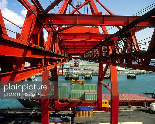 Dublin Port, River Liffey, Dublin, County Dublin, Ireland, Containers on a dock - p4425011f by Design Pics