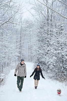 Young couple walking dog in snow covered forest, Ontario, Canada - p429m2051011 by Sara Monika