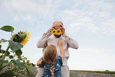 Playful man with daughter in a field covering his eyes with sunflowers - p300m2132082 by Katharina Mikhrin
