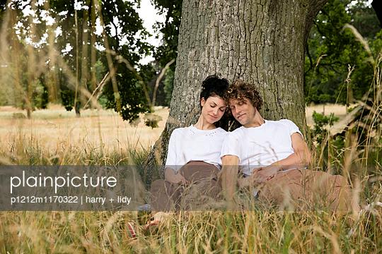 Junges Paar unter dem Baum - p1212m1170322 von harry + lidy