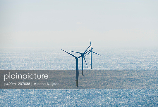 Wind turbines at Dutch offshore wind farm, IJmuiden, Netherlands - p429m1207038 by Mischa Keijser
