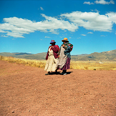 Two Native woman in Bolivia - p1160m951366 by Emilie Reynaud