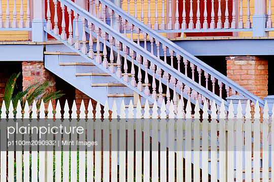 Stairs And White Picket Fence - p1100m2090932 by Mint Images