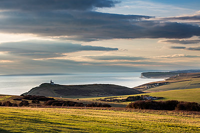View of Bell Tout Lighthouse on the coast, Beachy Head, England - p1516m2158281 by Philip Bedford