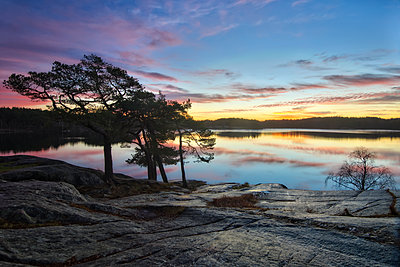 Sunset at lake - p312m1521916 by Mikael Svensson
