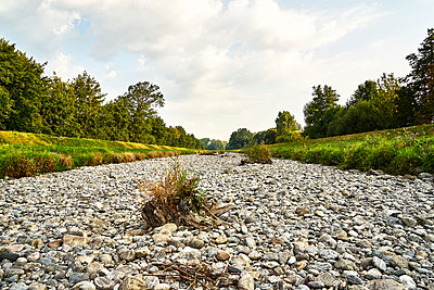 Dried up river bed in summer - p1312m2210266 by Axel Killian