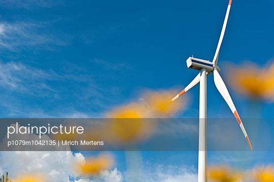 Windkraftanlage und Blumen - p1079m1042135 von Ulrich Mertens