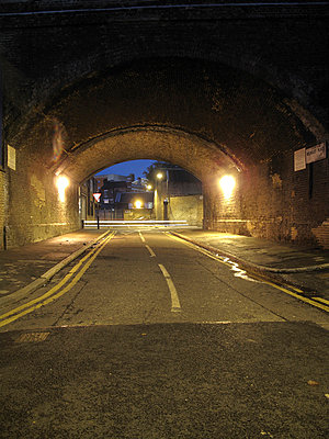Road under railway arch. - p1072m829284 by Neville Mountford-Hoare