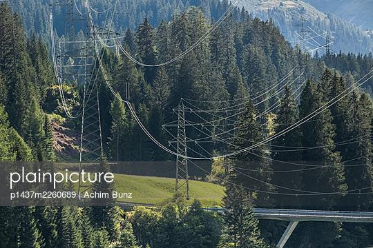 High-tension lines close to San Bernardino tunnel, Switzerland - p1437m2260689 by Achim Bunz