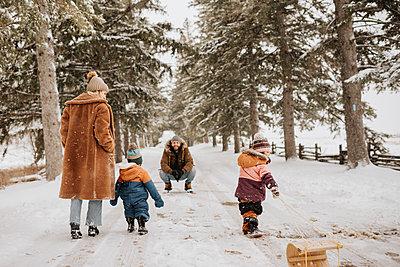 Canada, Ontario, Parents with children (12-17 months, 2-3) on winter walk - p924m2271204 by Sara Monika