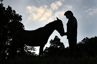 Cowboy with Horse at Sunset - p1019m853199 by Stephen Carroll