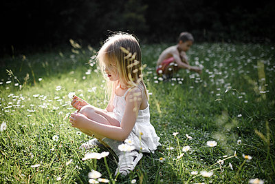 Two children picking flowers in field - p300m2103309 by Ekaterina Yakunina