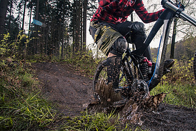 Germany, Lower Saxony, Deister, Bike Freeride in forest - p300m930052f by Martin Bühler