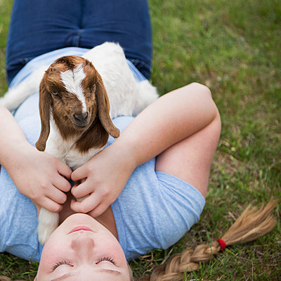 A girl cuddling a baby goat lying on her chest.  - p1100m923414f by Norah Levine