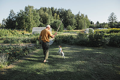 Senior man playing with dog in garden - p300m2029751 by Katharina Mikhrin